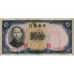 Chine - Central Bank of China - Pick 214c - 10 yüan - 1936 - Etat : TB+