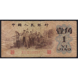 Chine - Peoples Bank of China - Pick 877f - 1 jiao - 1962 - Etat : B