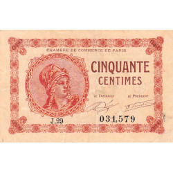 Paris - Pirot 97-10-J - 50 centimes - Etat : TB+