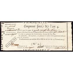 Gers - Villecomtal - Révolution - Emprunt forcé de l'an IV - 1795 - 90 francs - Etat : SUP