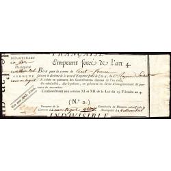Gers - Villecomtal - Révolution - Emprunt forcé de l'an IV - 1795 - 100 francs - Etat : SUP
