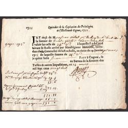 Charente - Cognac - Louis XV - 1725 - Capitation des Privilégiés - 34 livres - Etat : TTB+