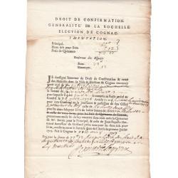 Charente - Cognac - Louis XV - 1729 - Droit de Confirmation - 66 livres - Etat : SUP