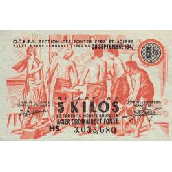 5 kg produits moulés acier ordinaire et fonte - 30-09-1947 - Non endossé - Etat : SPL