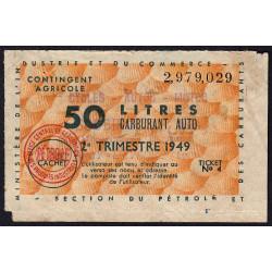 50 litres carburant auto - 2e trimestre 1949 - Etat : TB-
