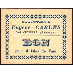 12-nr Sauveterre - Boulangerie E. Carles - Bon pour 4 kilos de pain - Etat : SUP