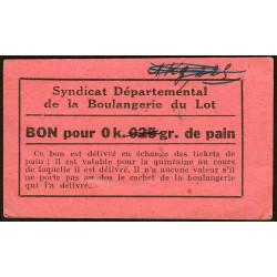 46-nr Souillac - Boulangerie Combes - Bon pour 0k,025 de pain - Etat : TTB à SUP