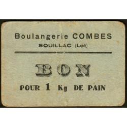 46-nr Souillac - Boulangerie Combes - Bon pour 1 kg de pain - Etat : TB+