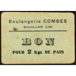 46-nr Souillac - Boulangerie Combes - Bon pour 2 kgs de pain - Etat : TTB