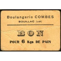 46-nr Souillac - Boulangerie Combes - Bon pour 6 kgs de pain - Etat : TB
