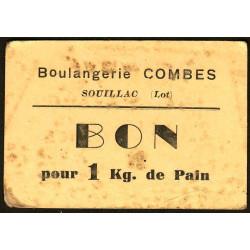 46-nr Souillac - Boulangerie Combes - Bon pour 1 kg. de pain - Etat : TB