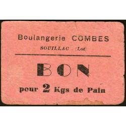 46-nr Souillac - Boulangerie Combes - Bon pour 2 kgs de pain - Etat : TB-