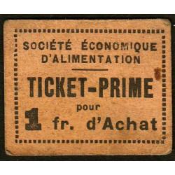 69 - Lyon - Sté Eco. d'Alimentation - Ticket prime 1 fr. d'achat - Type 2 - Etat : TB