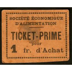69 - Lyon - Sté Eco. d'Alimentation - Ticket prime 1 fr. d'achat - Type 3 - Etat : TB+