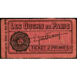 75 - Paris - Les Docks Parisiens - Ticket 2 primes - 1e type - Etat : TTB