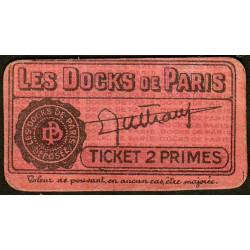 75 - Paris - Les Docks Parisiens - Ticket 2 primes - 2e type - Etat : SUP