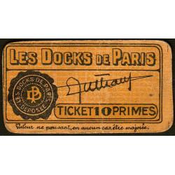 75 - Paris - Les Docks Parisiens - Ticket 10 primes - 2e type - Etat : TTB