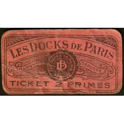 75 - Paris - Les Docks Parisiens - Ticket 2 primes - 3e type - Etat : B