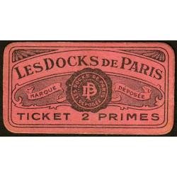 75 - Paris - Les Docks Parisiens - Ticket 2 primes - 3e type - Etat : SPL