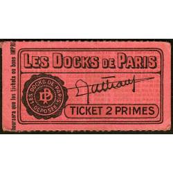 75 - Paris - Les Docks Parisiens - Ticket 2 primes - 1e type - Etat : SUP