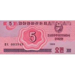 Corée du Nord - Pick 32 - 5 jeon - 1988 - Etat : NEUF