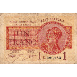 VF 51-5 - 1 franc - Mines Domaniales de la Sarre - 1920 - Etat : B+