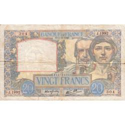 F 12-10 - 05/12/1940 - 20 francs - Science et Travail - Etat : TB-