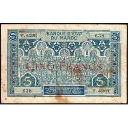 Maroc - Pick 9_5 - 5 francs - 1924 - Etat : TB-