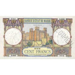 Maroc - Pick 20_4s - 100 francs - 1945 - Spécimen - Etat : SPL