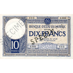 Maroc - Pick 17a_1s - 10 francs - 1929 - Spécimen - Etat : SUP