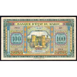 Maroc - Pick 27_2 - 100 francs - 1943 - Etat : TTB-