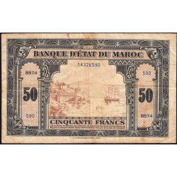Maroc - Pick 26_2 - 50 francs - 1944 - Etat : TB-