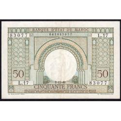 Maroc - Pick 44 - 50 francs - 1949 - Etat : TTB