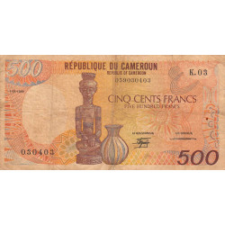 Cameroun - Pick 24a-4 - 500 francs - Etat : B+ à TB-