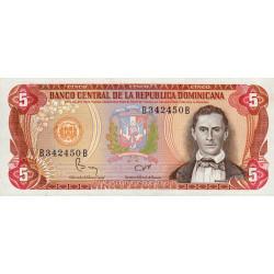 Rép. Dominicaine - Pick 118b3 - 5 pesos oro - 1982 - Etat : NEUF