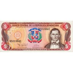 Rép. Dominicaine - Pick 152b - 5 pesos oro - 1997 - Etat : SUP+