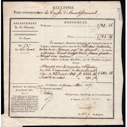 Charente - Cognac - 1827 - Versement Caisse d'Amortisement - 1523 francs - Etat : SUP