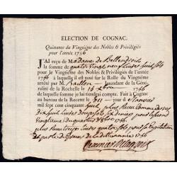 Charente - Cognac - Louis XV - 1756 - Vingtième des Nobles - 89 livres - Etat : SUP