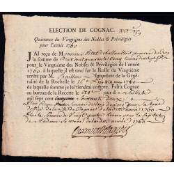 Charente - Cognac - Louis XV - 1760 - Vingtième des Nobles - 245 livres - Etat : TTB+