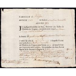 Charente - Cognac St-Sulpice - Louis XV - 1751 - Vingtième des Nobles - 83 livres - Etat : SUP
