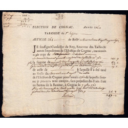 Charente - Cognac St-Sulpice - Louis XV - 1763 - Trois Vingtièmes des Nobles - 245 livres - Etat : SUP