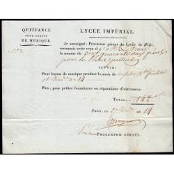 Seine - Paris - 1er empire - 1805 - Quittance Lycée Impérial - 142 francs - Etat : SUP