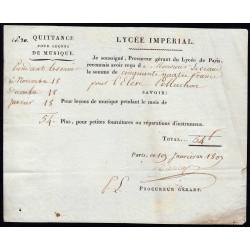 Seine - Paris - 1er empire - 1807 - Quittance Lycée Impérial - 54 francs - Etat : SUP