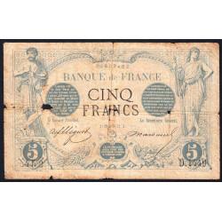 F 01-12 - 29/11/1872 - 5 francs - Noir - Etat : B-