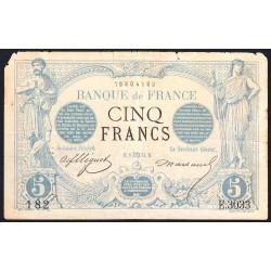 F 01-21 - 08/08/1873 - 5 francs - Noir - Etat : B+ à TB-
