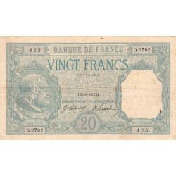 F 11-02 -23/08/1917 - 20 francs - Bayard - Etat : TB+ à TTB-