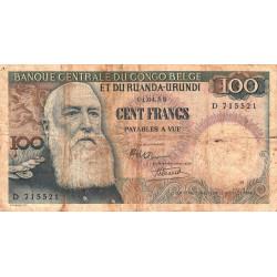 Congo Belge - Pick 33a - 100 francs - 01/04/1955 - Série D - Etat : B