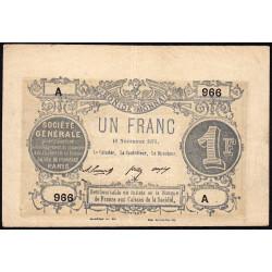 Paris - Société Générale - 1 franc - 18 novembre 1871 - Etat : TTB+