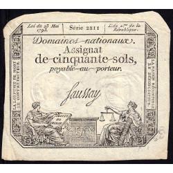 Gard - Nimes - Ticket d'Escompte - Assignat 50 sols - 1793 - Etat : SUP