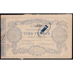 Le Mans - Chambre de Commerce - 5 francs - 1 décembre 1870 - Etat : TTB